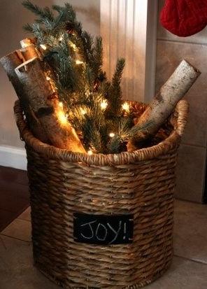 basket with lights greens